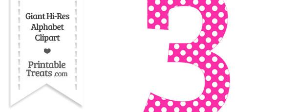 Hot pink number printable. 3 clipart polka dot