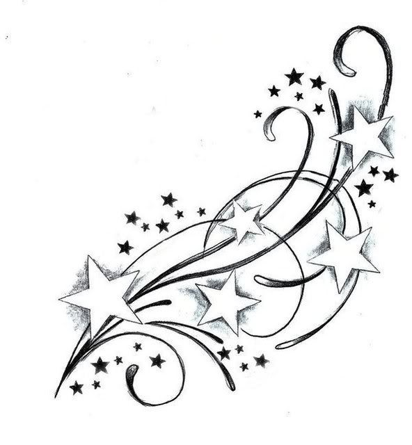 3 clipart shooting star.  coole fu tattoo
