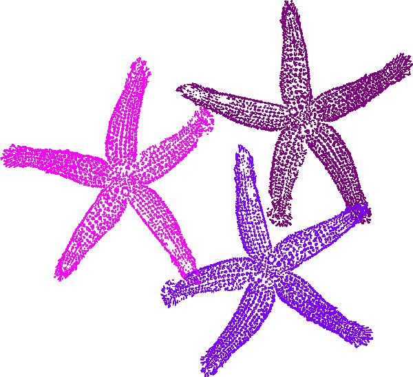 Three starfish clip art. Number 3 clipart purple
