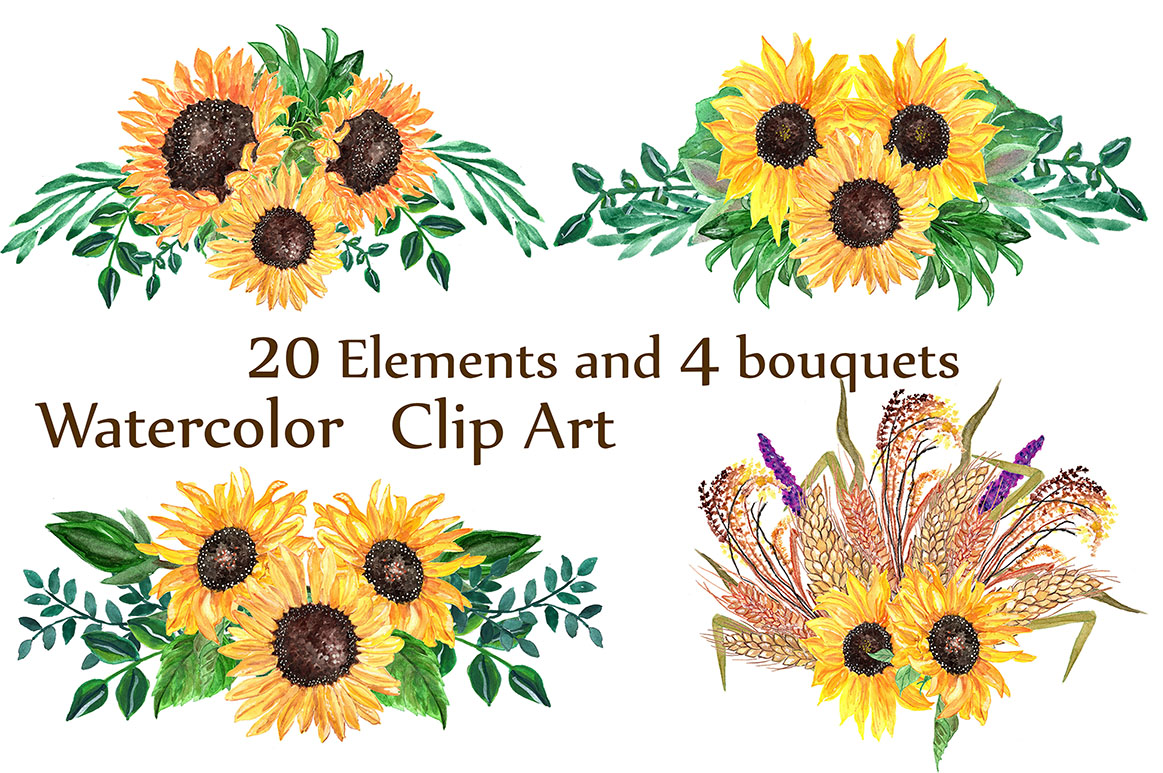 3 clipart sunflower. Watercolor sunflowers by lecoqd