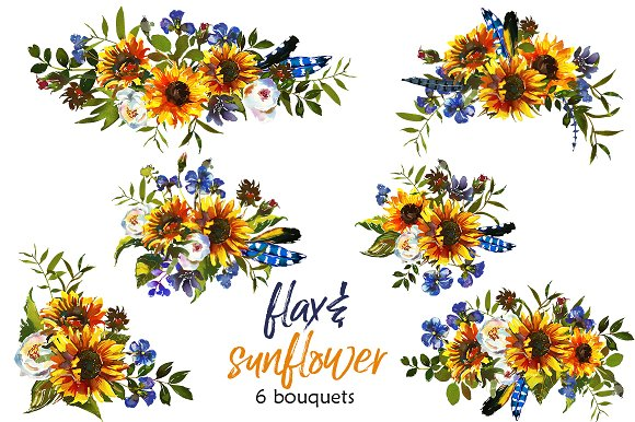 Bouquet clipart sunflower bouquet. Boho flax flowers png