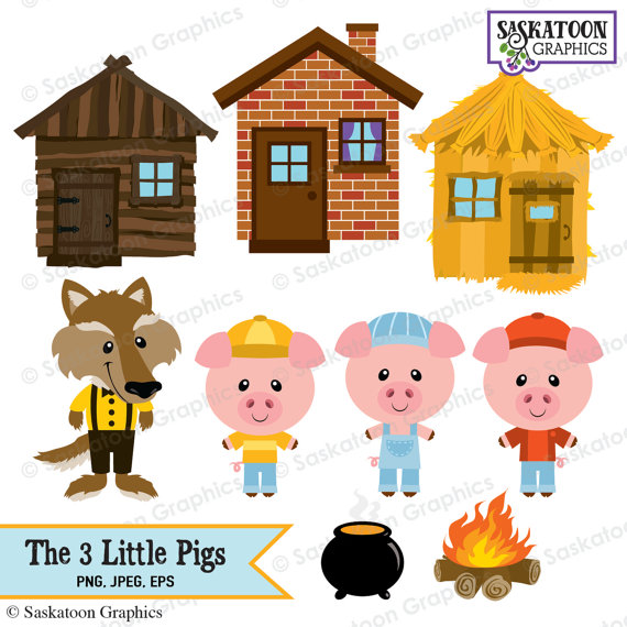 3 clipart three. The little pigs instant