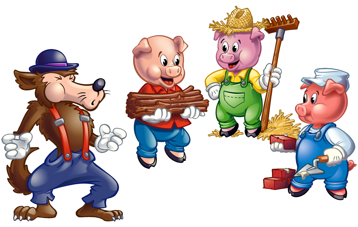 Little pigs station . 3 clipart three