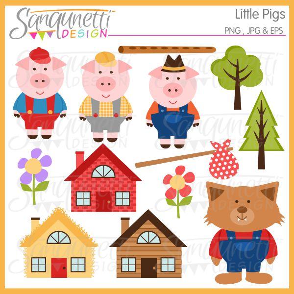 3 clipart three. Sanqunetti design little pigs
