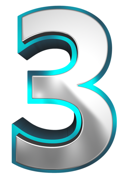 Metallic and blue number. 3 clipart three