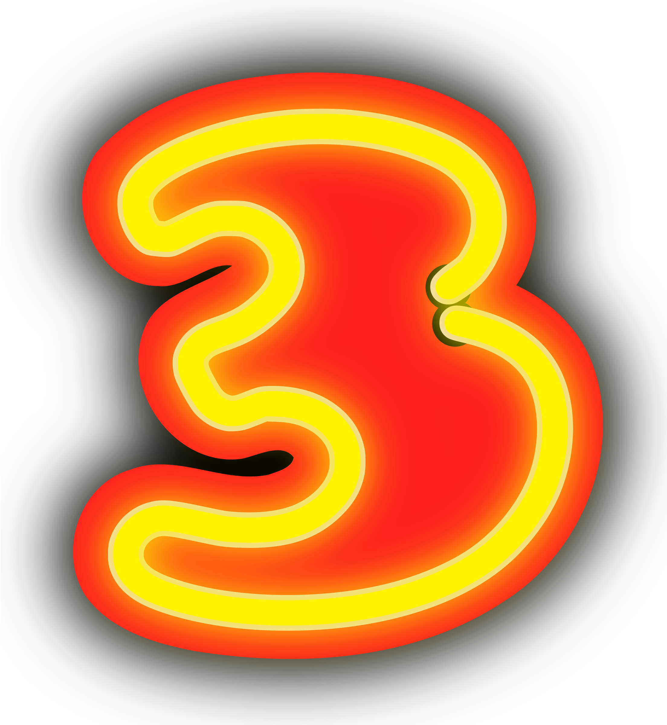 Neon numerals big image. 3 clipart transparent