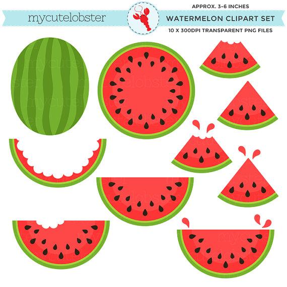 3 clipart watermelon. Set clip art of