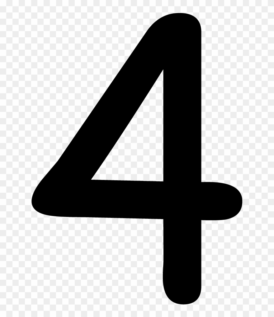 4 clipart. Number png black and