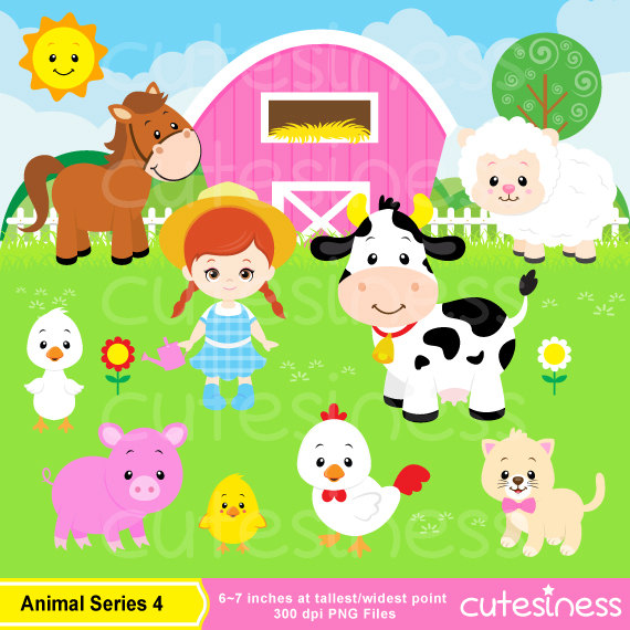 Barn clipart animal farm. Animals set farmyard