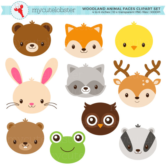 Faces set cute animals. Woodland clipart small animal
