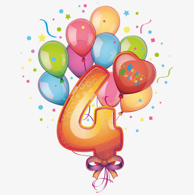 4 clipart balloon. Balloons and number digital