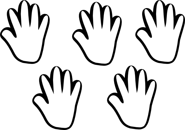 Child handprint clip art. 4 clipart black and white