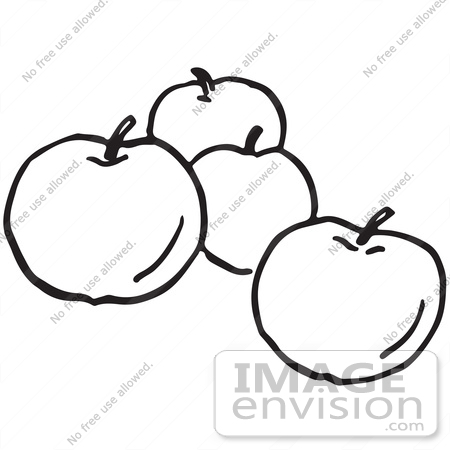 4 clipart black and white. Apple drawing at getdrawings