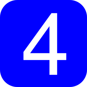Rounded square with number. 4 clipart blue