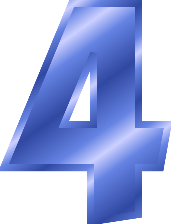 Number clip art free. 4 clipart blue