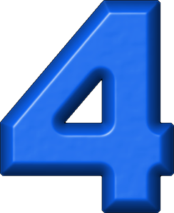 4 clipart blue. Presentation alphabets refrigerator magnet