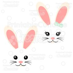 4 clipart bunny. Easter face printable faces