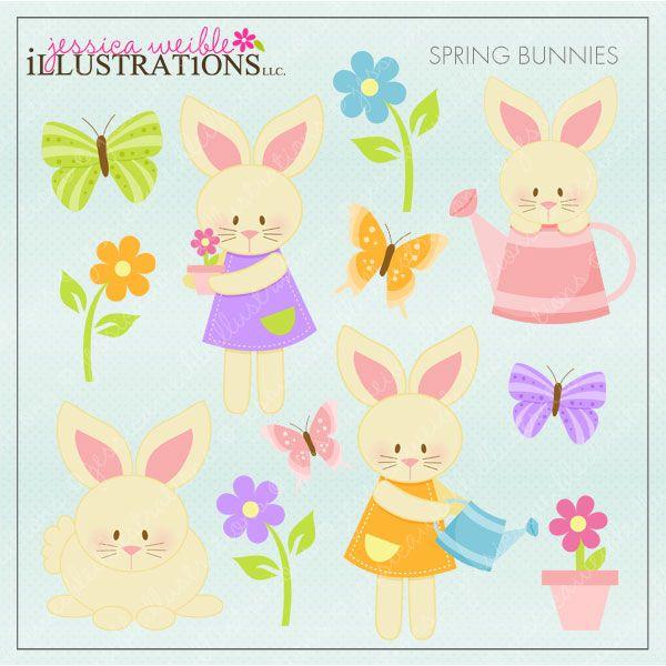 4 clipart bunny. Spring bunnies set comes