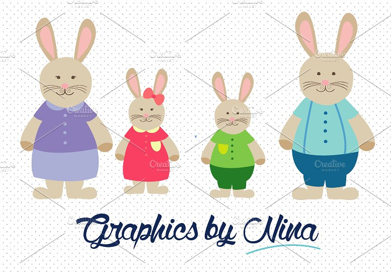 Rabbit illustrations creative market. Bunny clipart family