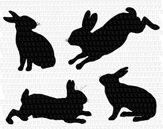 rabbits silhouettes high. 4 clipart bunny