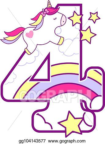 4 clipart cute. Eps vector unicorn number