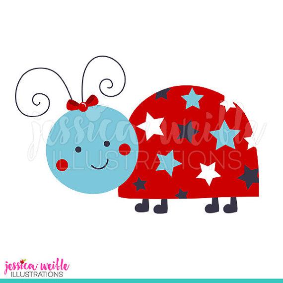 4 clipart cute. Patriotic ladybug digital lady