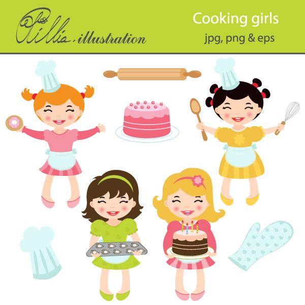 This cooking girls set. 4 clipart cute