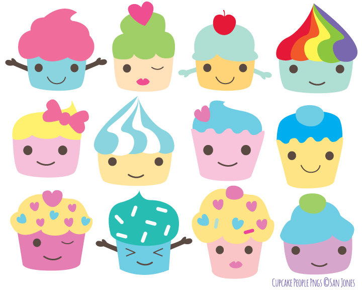 4 clipart cute. Cupcakes with faces station