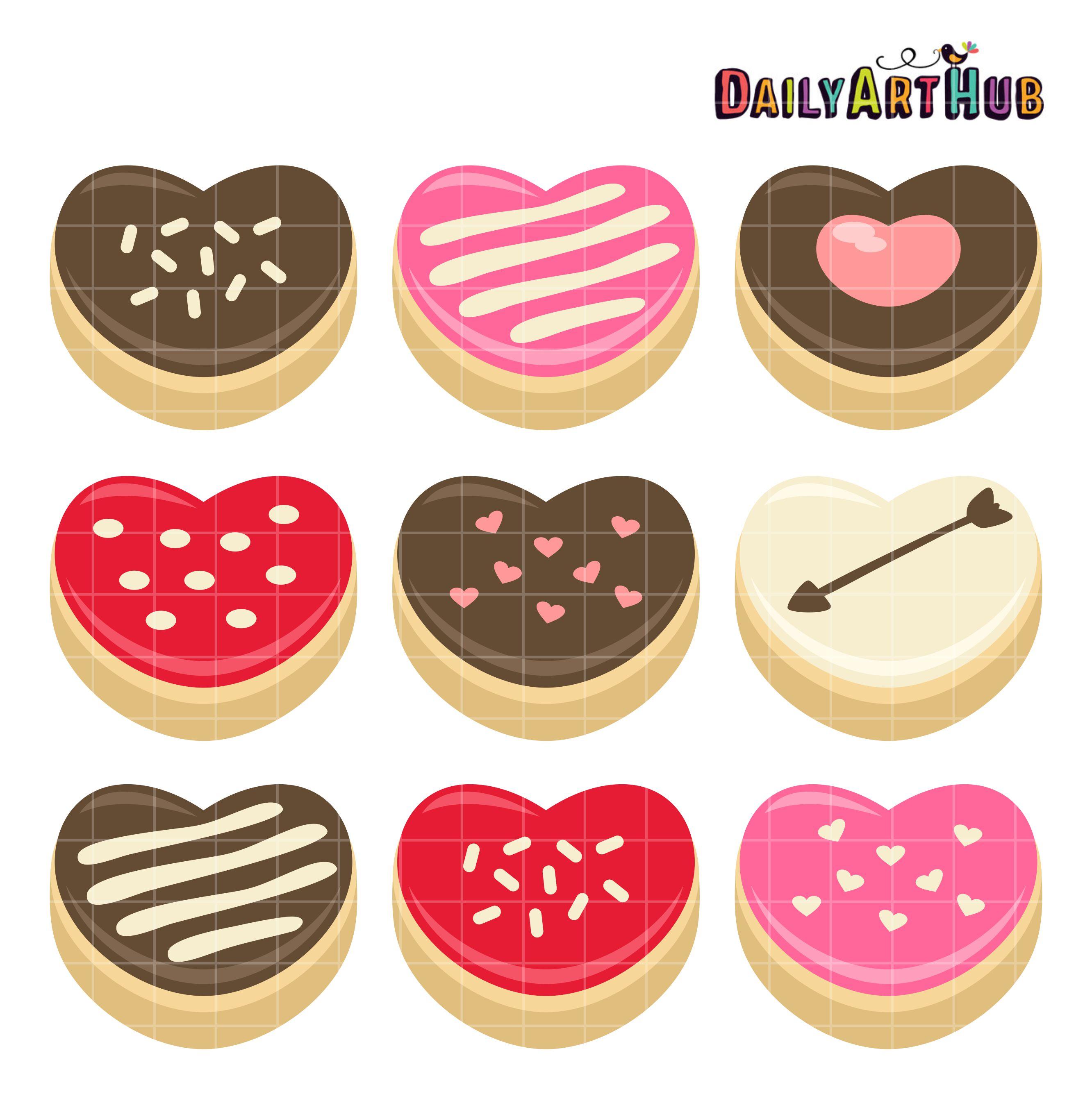Heart clip art set. 4 clipart donuts