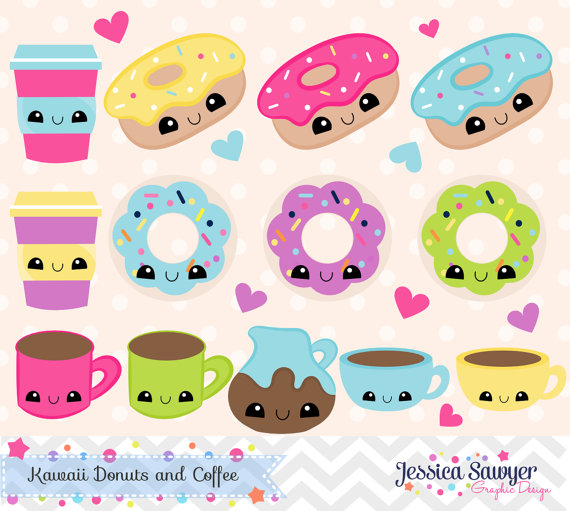 Instant download kawaii coffee. 4 clipart donuts