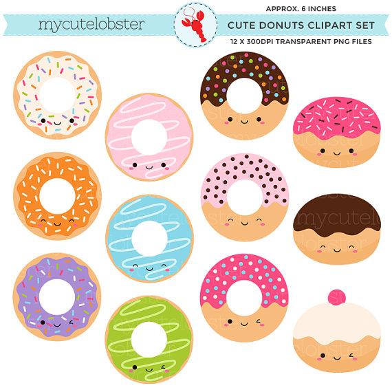 Donut clipart cute. Donuts set clip art