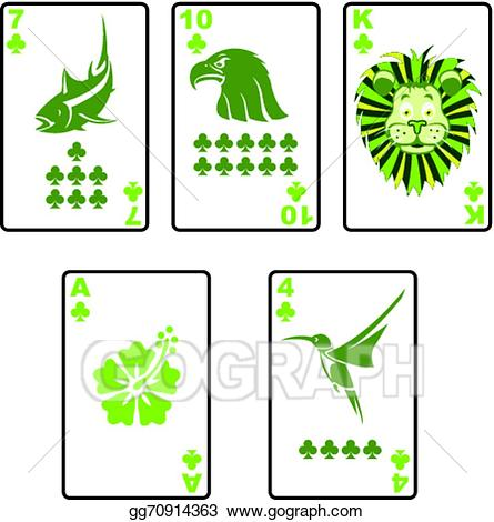 4 clipart green. Eps illustration cards clubs