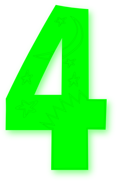 4 clipart green. Kids number bright clip