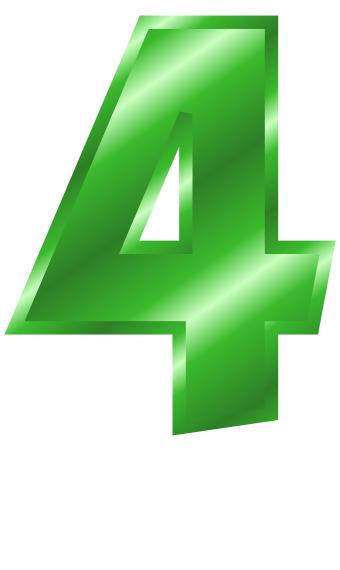 4 clipart green. Metal number clip art