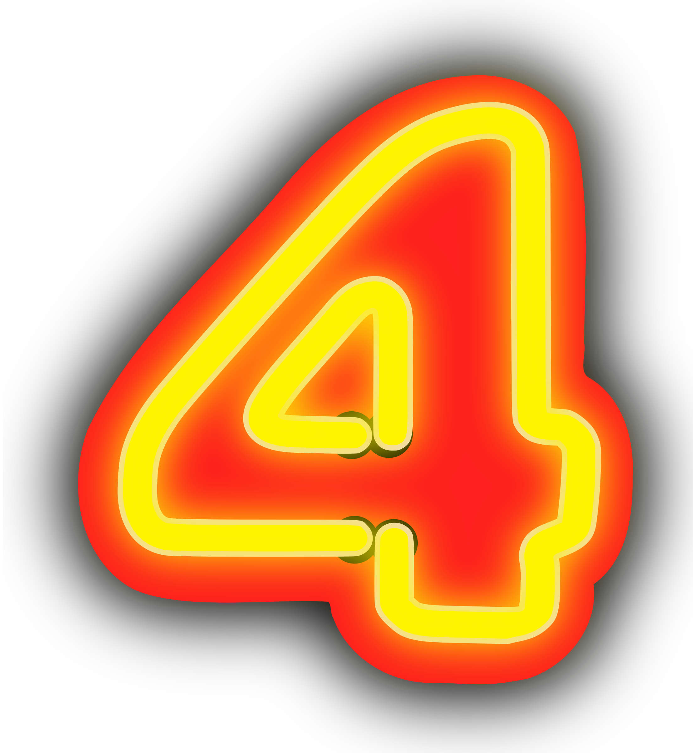 Neon numerals big image. Number 1 clipart yellow