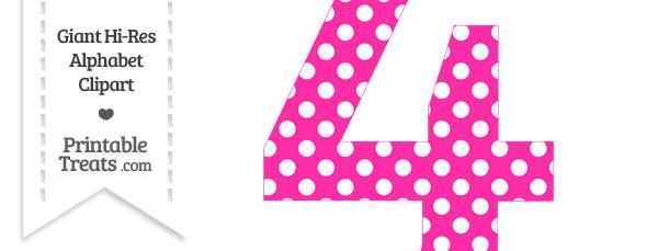 Hot polka dot number. 4 clipart pink