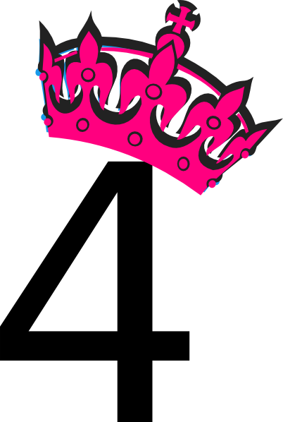4 clipart pink. Tilted tiara and number