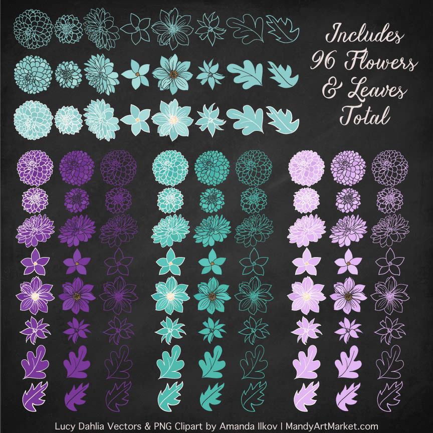 Aqua dahlia set. 4 clipart purple