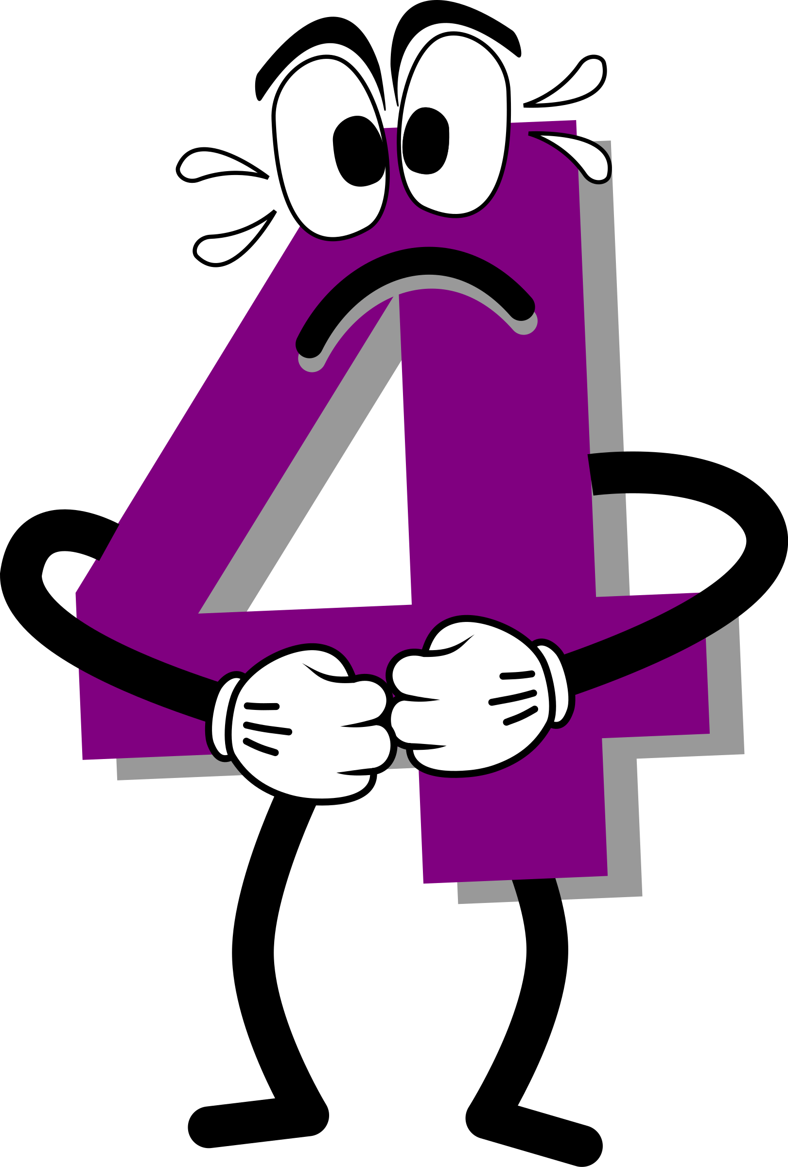 4 clipart purple. Scared big image png