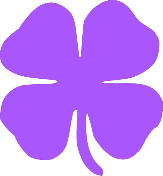 4 clipart purple.  leaf clover clip