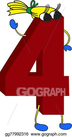 4 clipart red. Vector illustration d funny