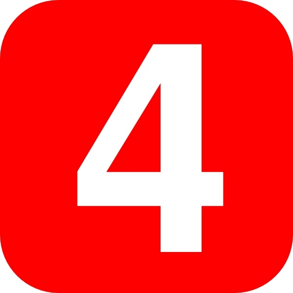 Rounded square with number. 4 clipart red