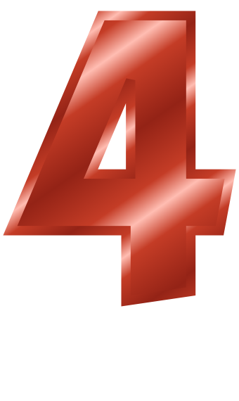 4 clipart red. Metal number signs symbol