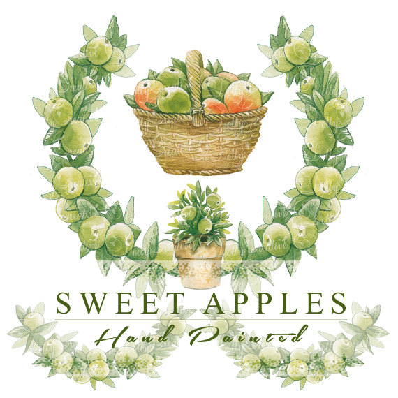 Apples hand painted frame. 4 clipart sweet