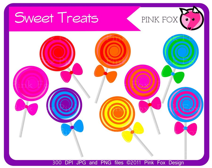 4 clipart sweet. Treats lollipop by pinkfoxdesign