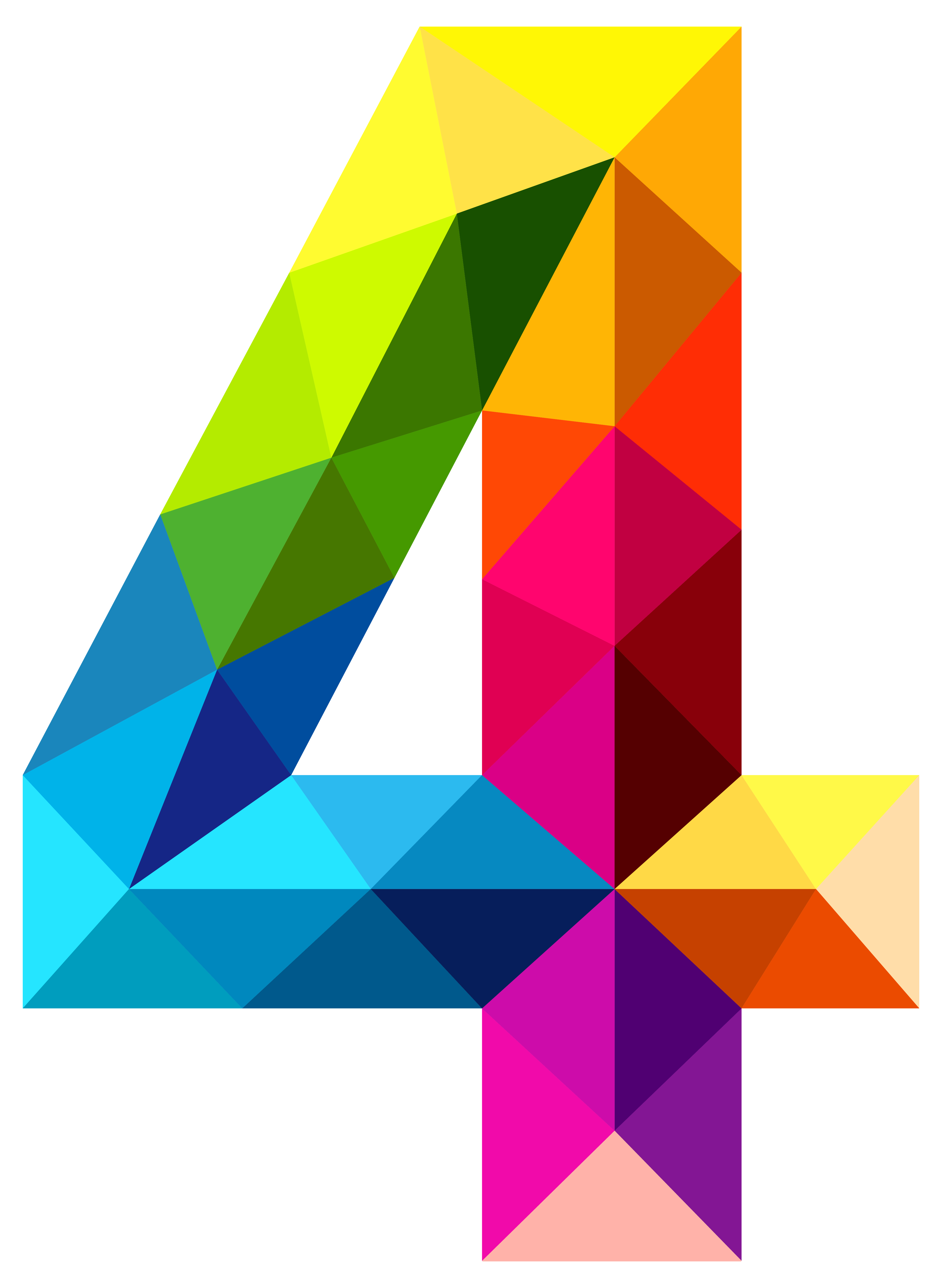 Colourful triangles number four. 4 clipart transparent