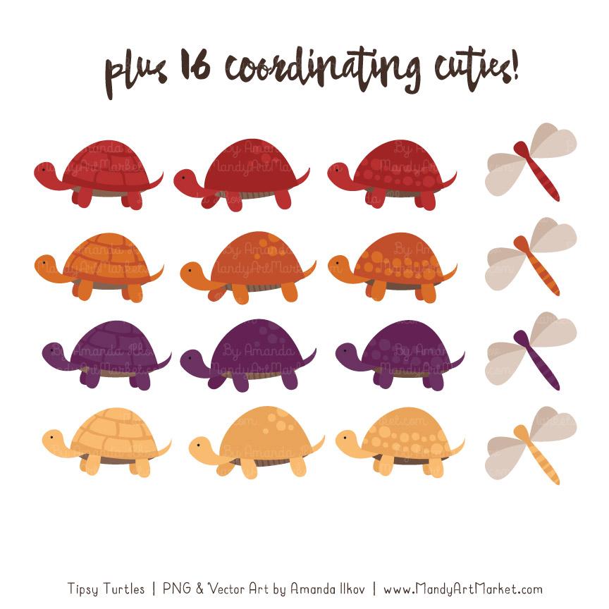 4 clipart turtle. Autumn stack vectors