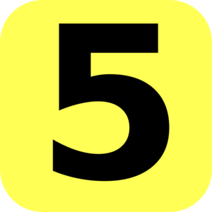 Yellow rounded number clip. 5 clipart
