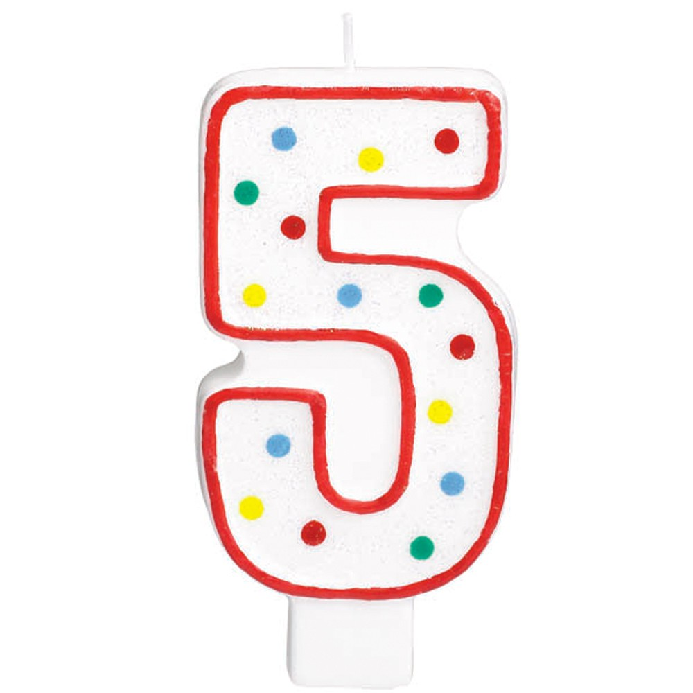 Big number polka dot. 5 clipart 5 candle