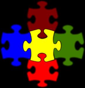 5 clipart artistic.  piece puzzle